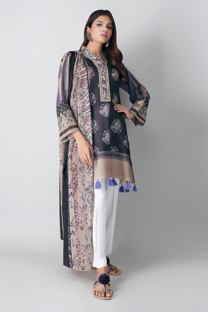 Khaadi Spring Collection 2021 – 2PC Suit · Embroidered Kameez Dupatta · M21104 Black