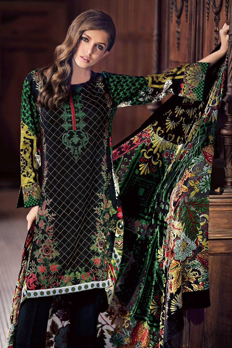 afcdfabeb6 18% OFF Sold Out Gul Ahmed Winter 2017 – Black 3 Pc Silk Velvet VL-57
