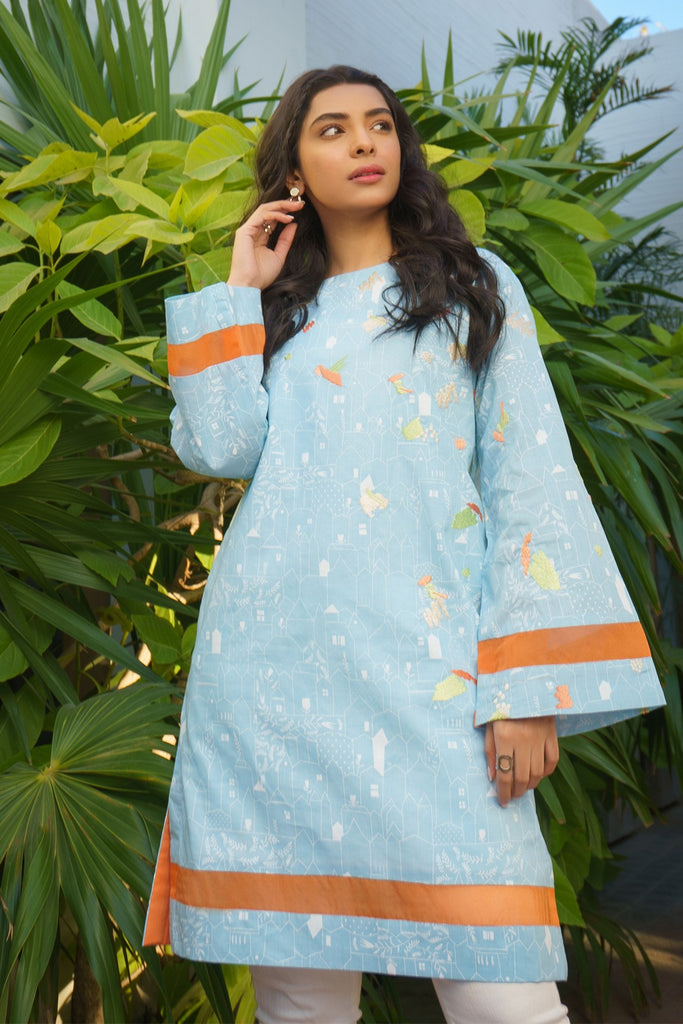 AlKaram MAK Spring/Summer 2020 – One Piece Embroidered Cambric Shirt - MAK-D-002-20-Blue