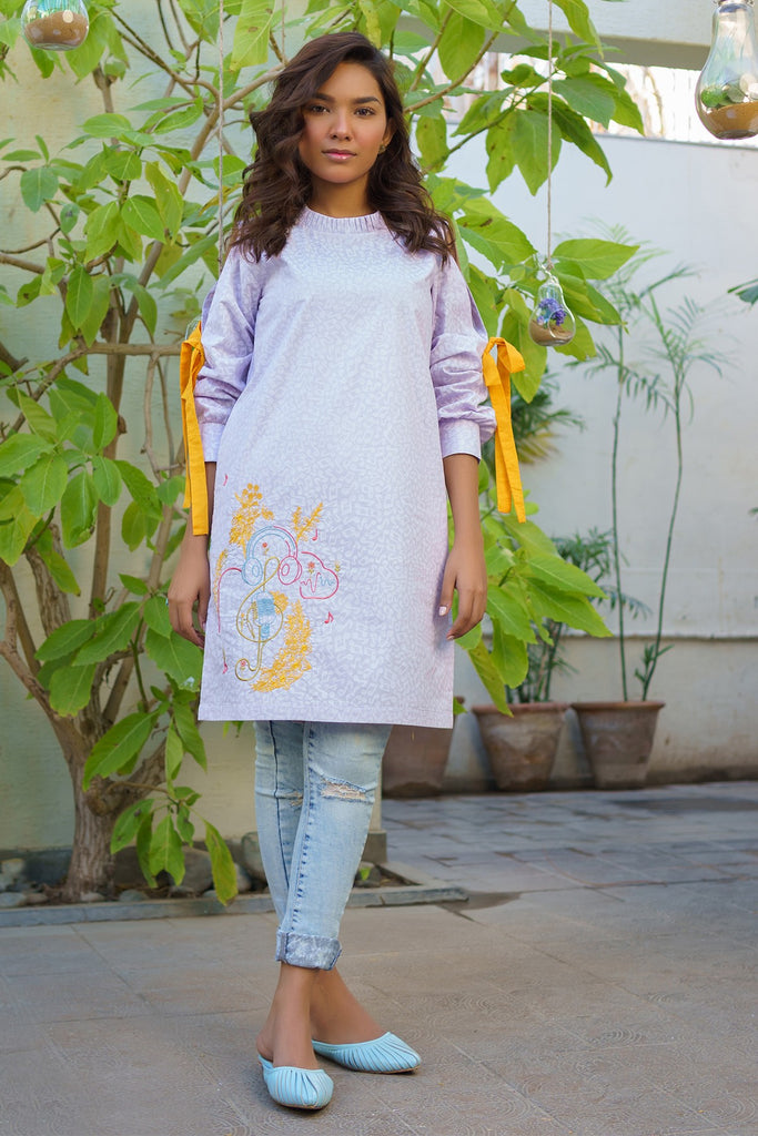 AlKaram MAK Spring/Summer 2020 – One Piece Embroidered Cambric Shirt - MAK-D-003-20-Purple