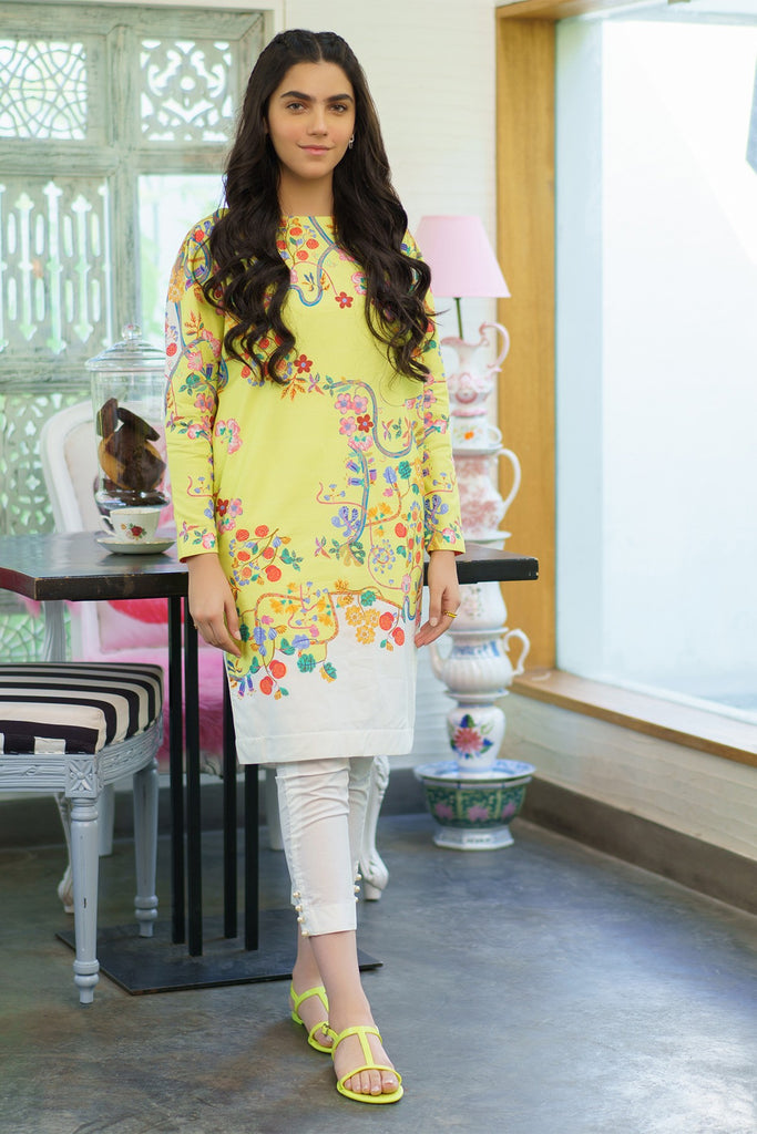 AlKaram MAK Spring/Summer 2020 – Two Piece Printed Cambric Suit With Cambric Trouser - MAK-F-004-20-Yellow
