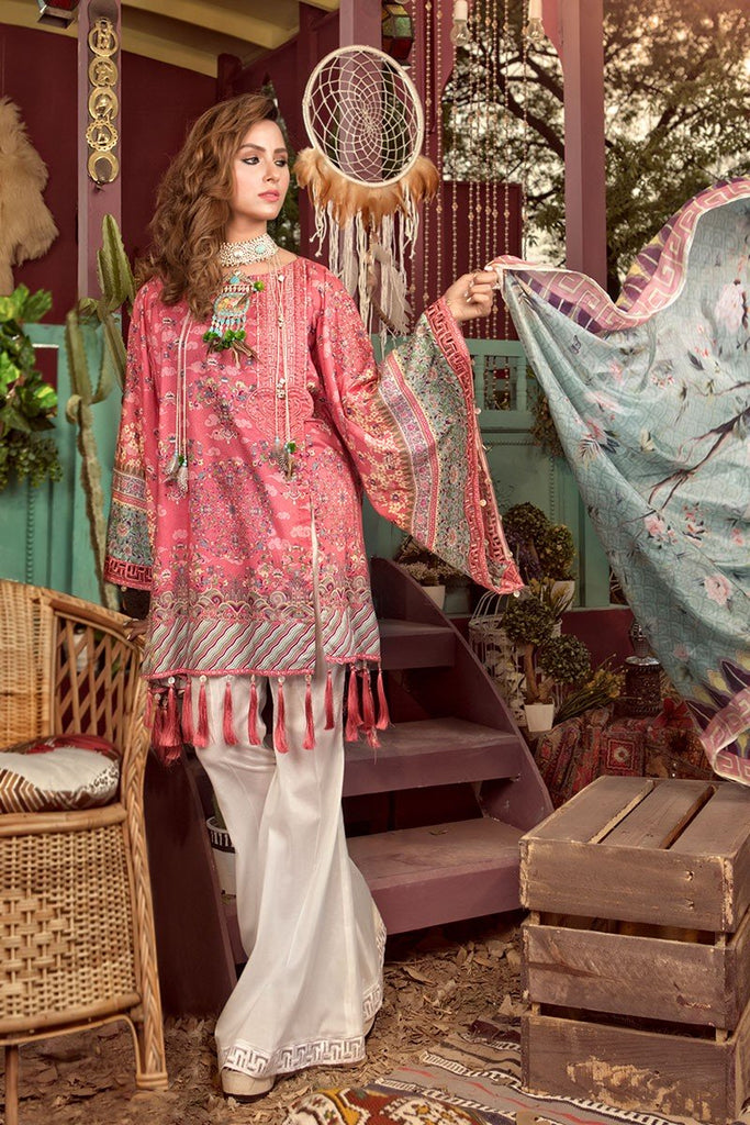MARIA.B. MPrints Lawn Collection 2018 – MPT 201 B Pink