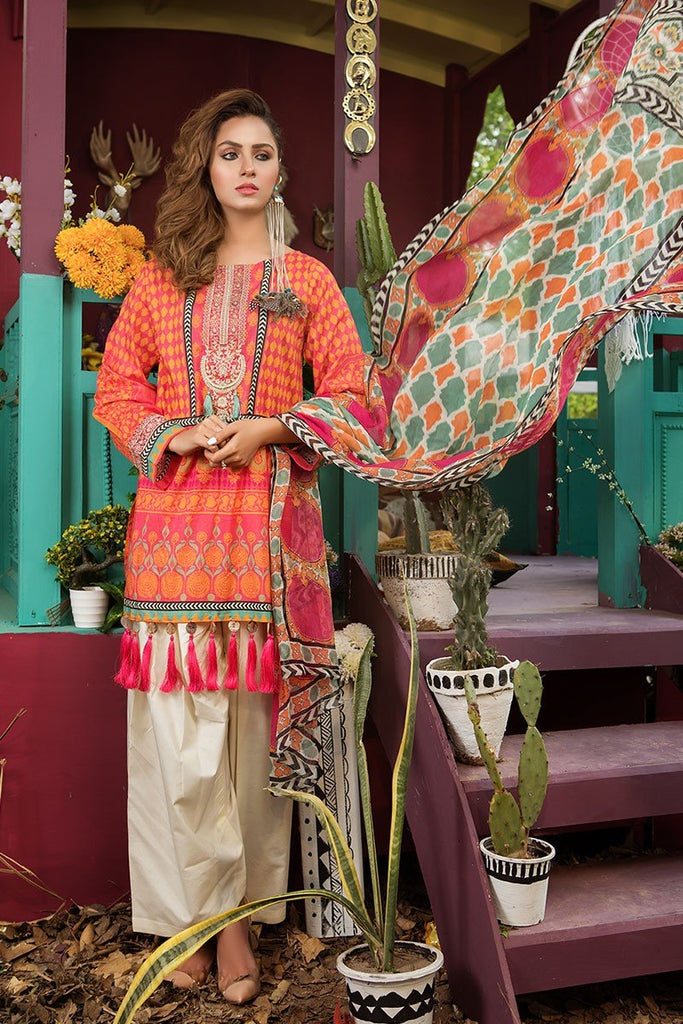 MARIA.B. MPrints Lawn Collection 2018 – MPT 204 B Pink
