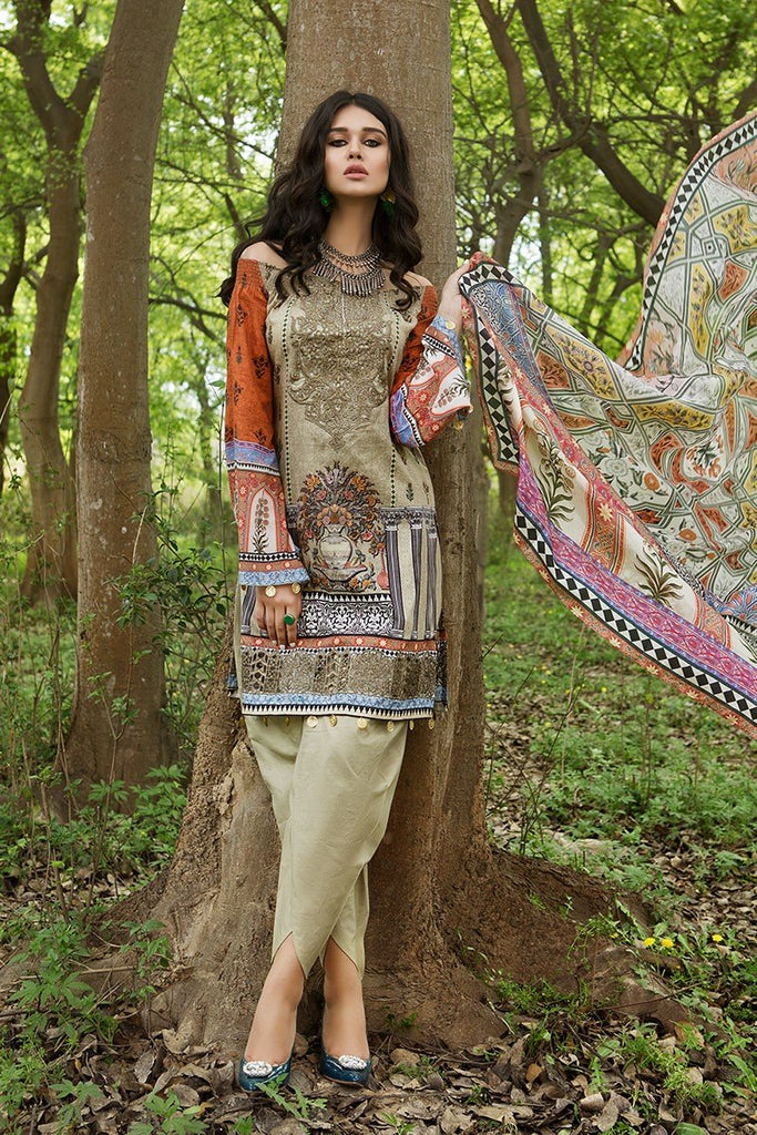 MARIA.B. MPrints Lawn Collection 2018 – MPT 205 A Beige