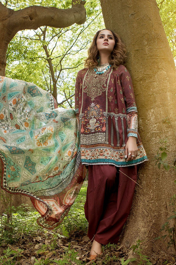 MARIA.B. MPrints Lawn Collection 2018 – MPT 205 B Maroon