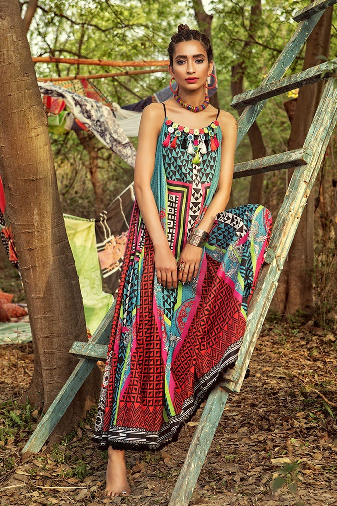 MARIA.B. MPrints Lawn Collection 2018 – MPT 211 A Red Sea Green