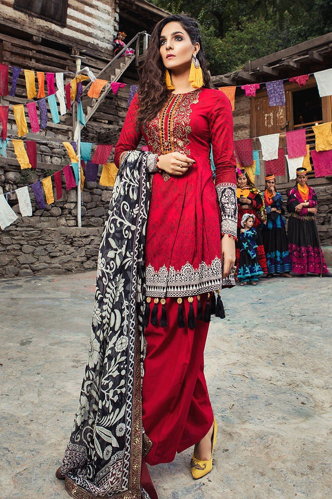 MARIA.B. Mprints Lawn Eid Collection 2018 – 308-A-Maroon