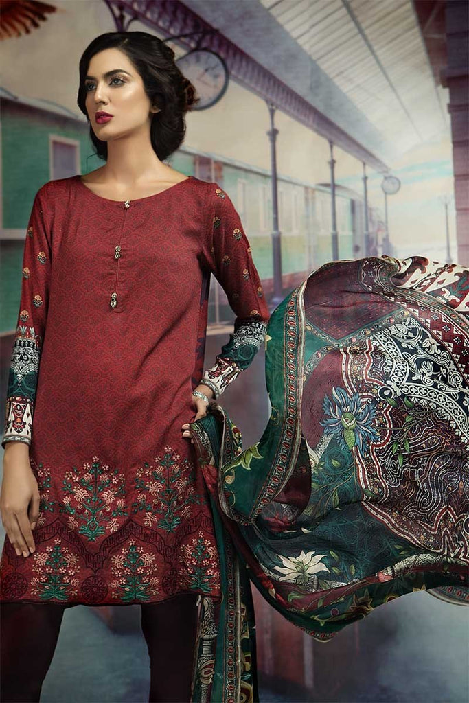 MARIA.B. M.Prints Winter Collection 2018 – MPT-404-B-Maroon