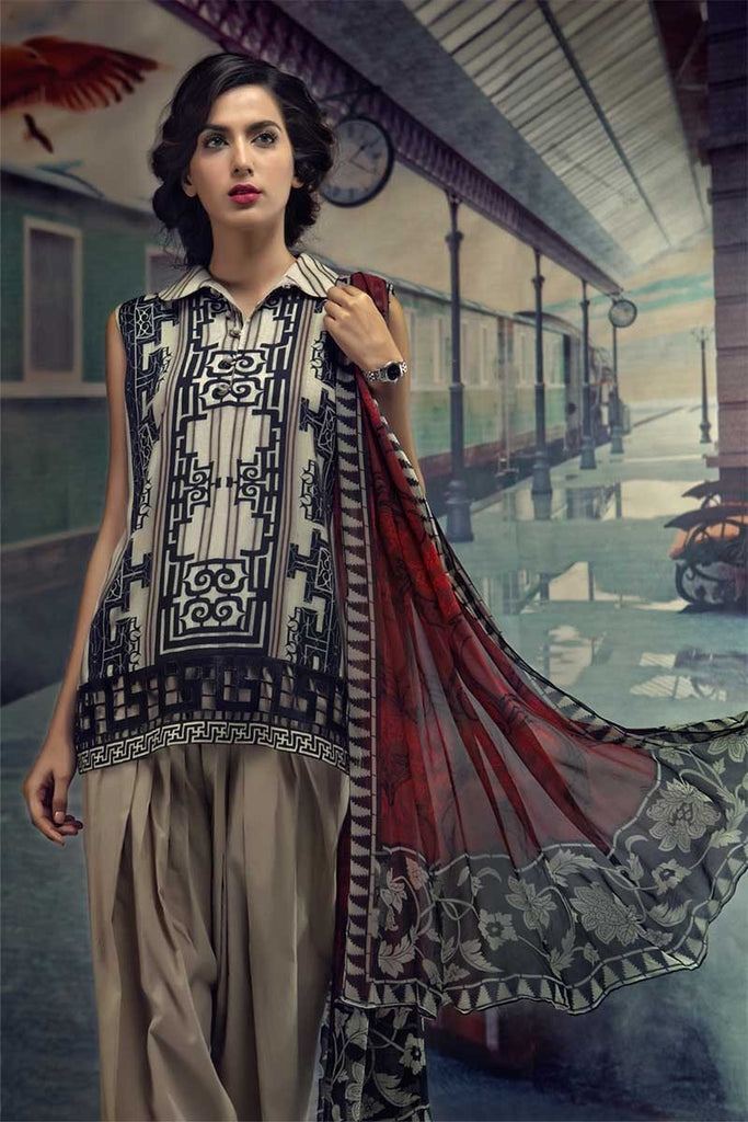 MARIA.B. M.Prints Winter Collection 2018 – MPT-405-A-Coffee & Maroon