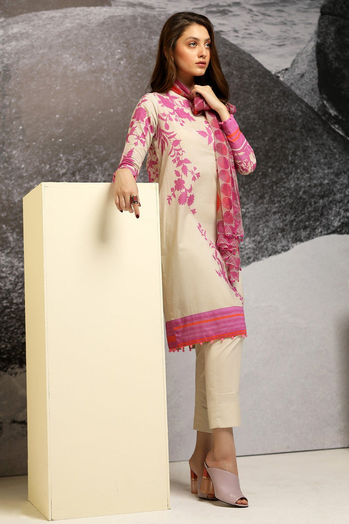 AlKaram Cambric Collection 2018 – 3 Piece Plain with Chiffon Printed Dupatta – MS-13-18-Pink