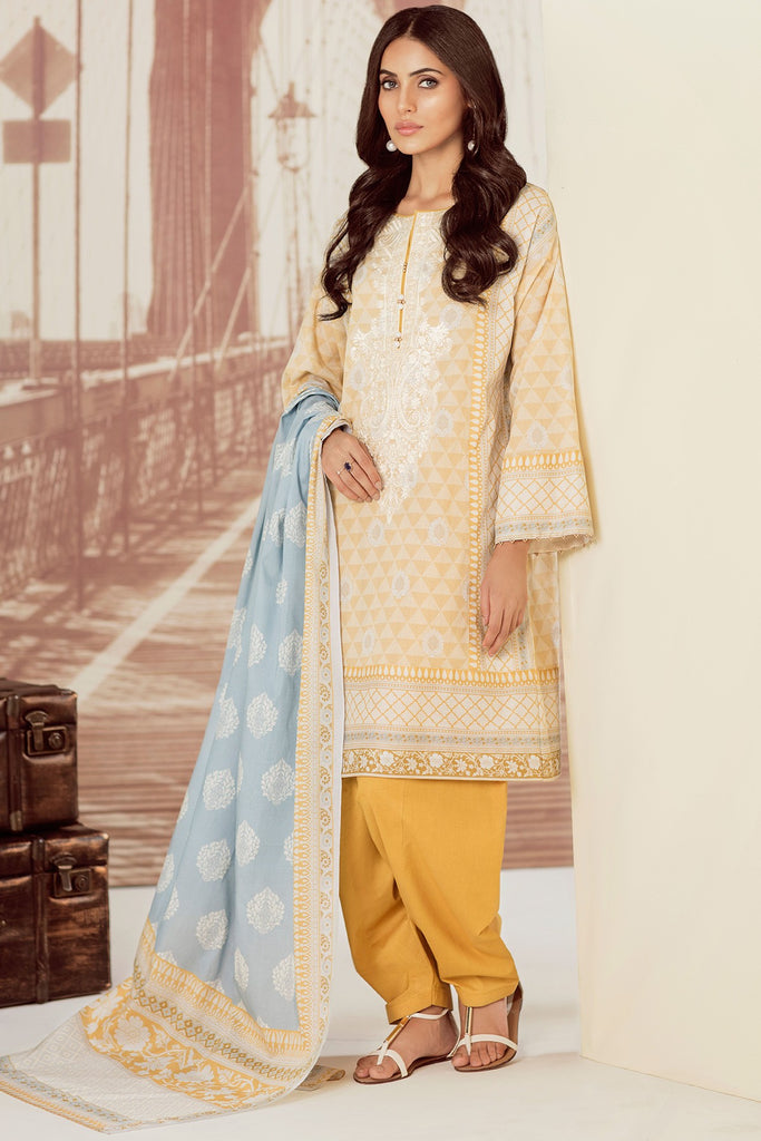 AlKaram Cambric Collection 2018 – 3 Piece Embroidered – MS-26.1-18-Mustard