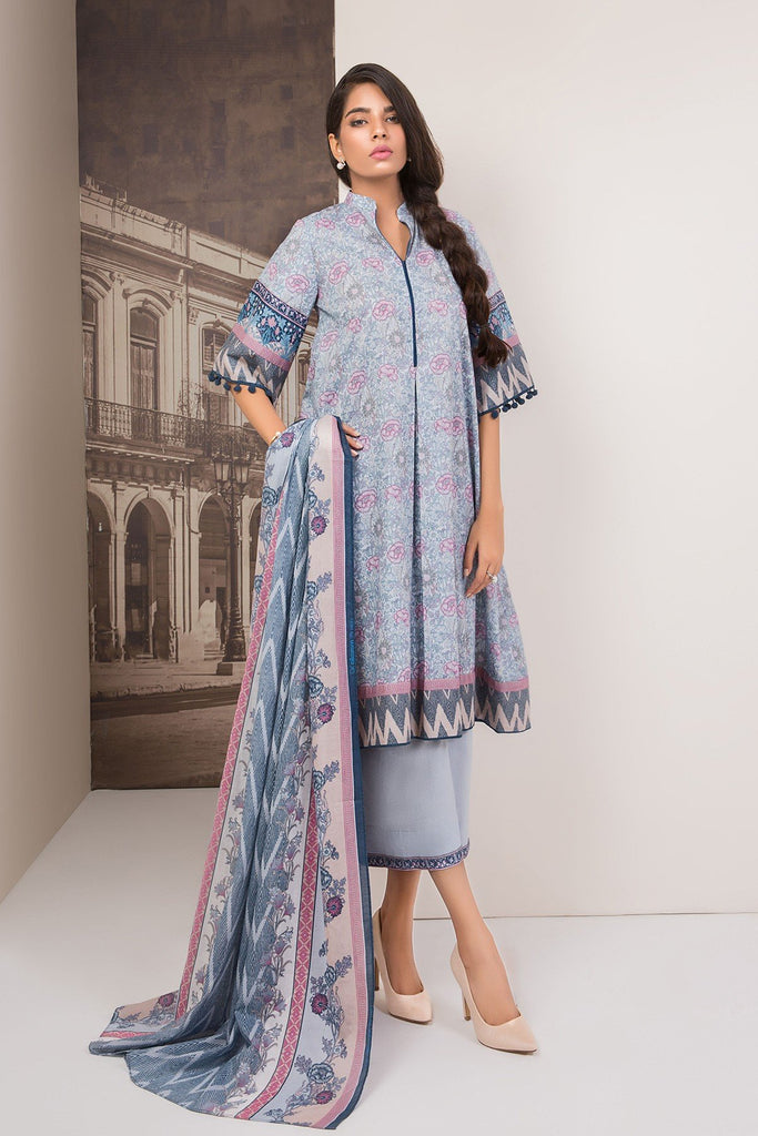 AlKaram Cambric Collection 2018 – 3 Piece Printed Plain – MS-27.1-18-Blue
