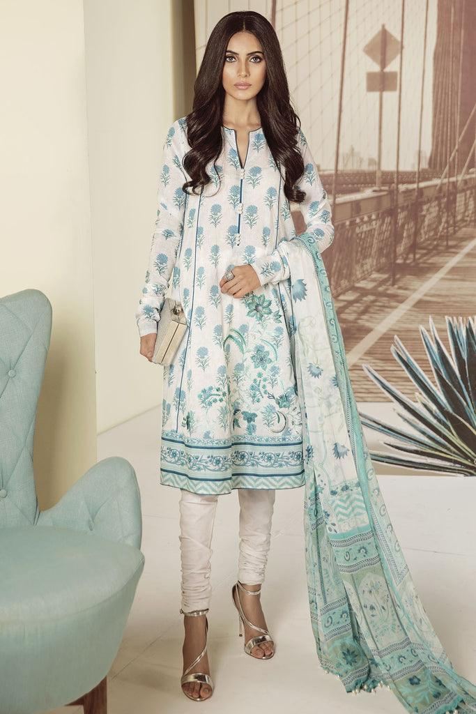 AlKaram Mid Summer 2018 – 3 Piece Embroidered with Chiffon Printed Dupatta – MS-9.1-18-Blue