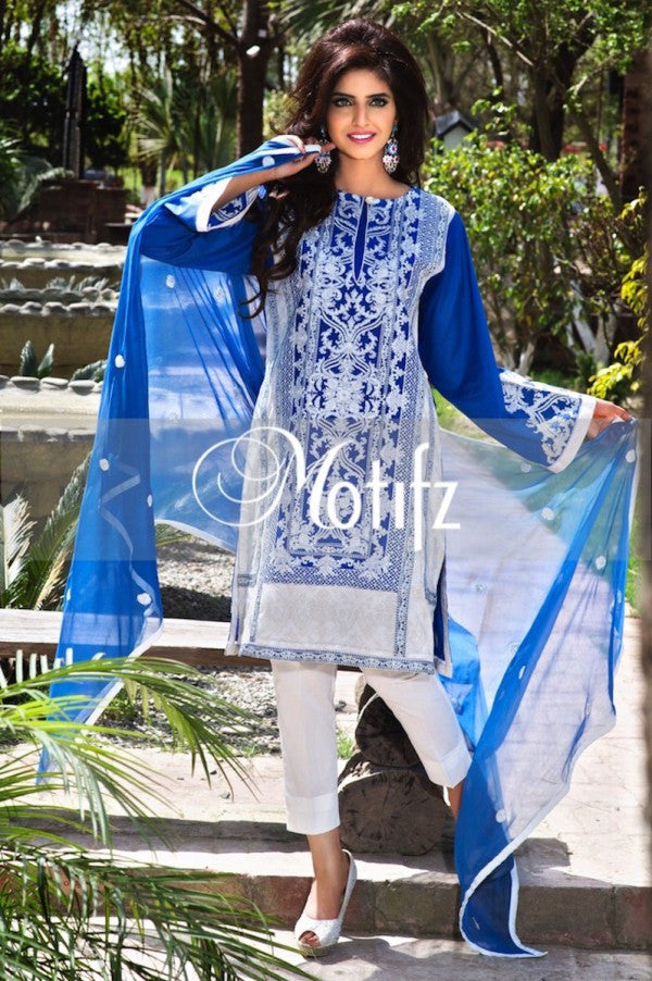 Motifz Embroidered Lawn Collection '15 Vol 2 – Electr Blue 0992 - YourLibaas  - 1