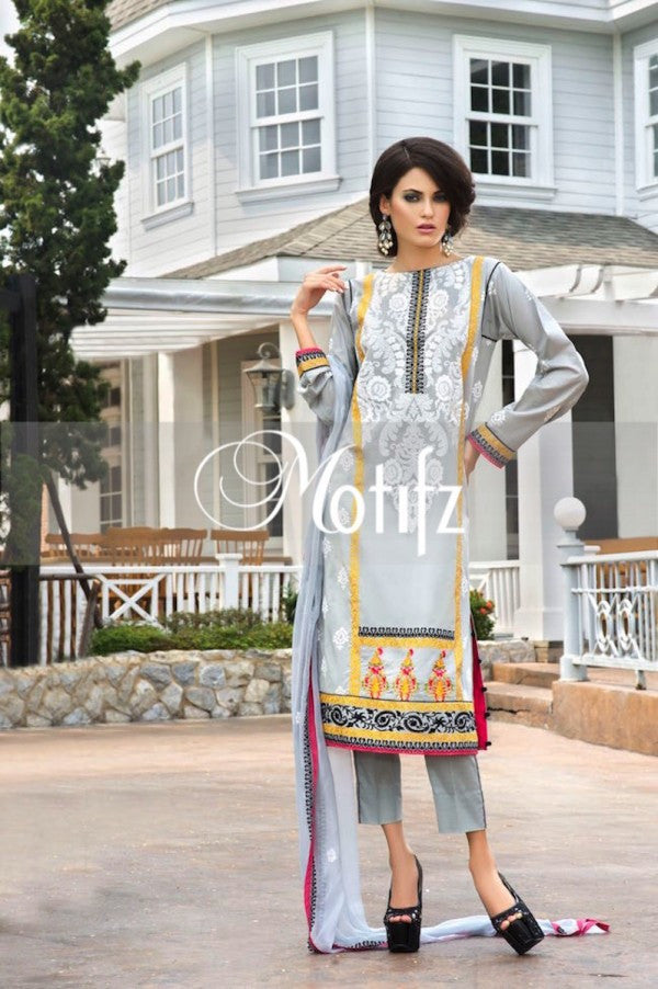 Motifz Embroidered Lawn Collection '15 Vol 2 – Light Grey 0997 - YourLibaas