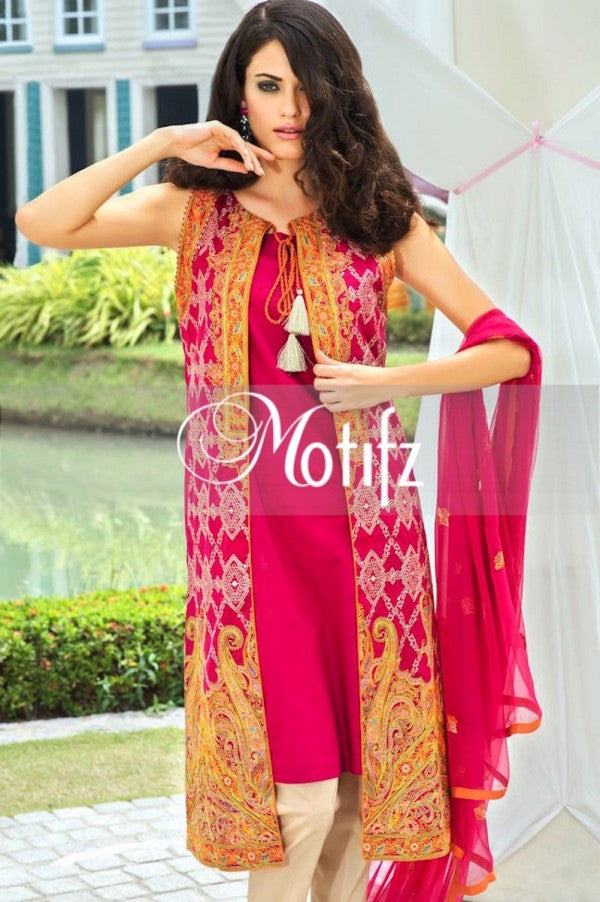 Motifz Embroidered Lawn Collection '15 Vol 2 – Red 1004 - YourLibaas  - 1