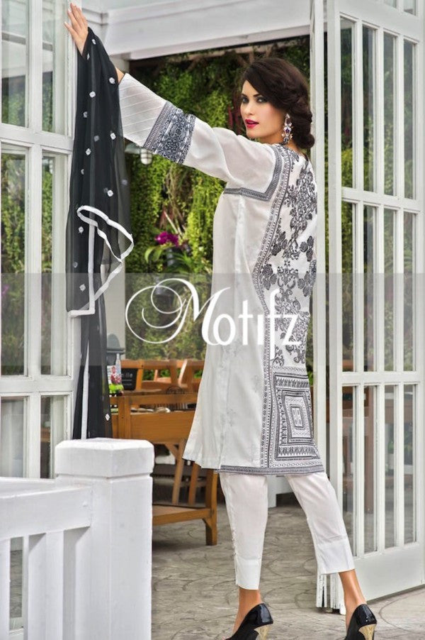 Motifz Embroidered Lawn Collection '15 Vol 2 – White 1007 - YourLibaas  - 1
