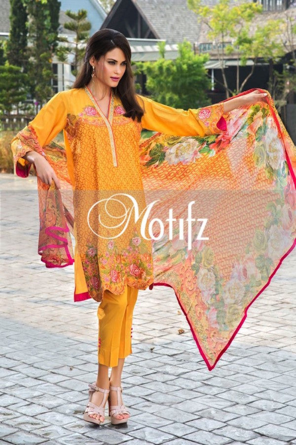 Motifz Embroidered Lawn Collection '15 Vol 2 – Mustard 1009 - YourLibaas  - 1