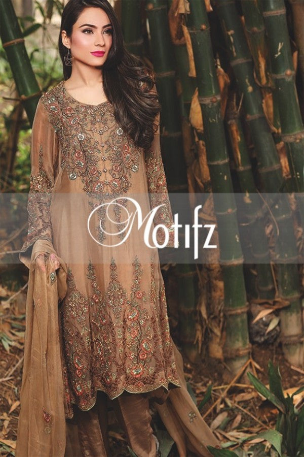 Motifz Embroidered Crinkle Chiffon Collection '16 – Coffee 1258 - YourLibaas  - 1
