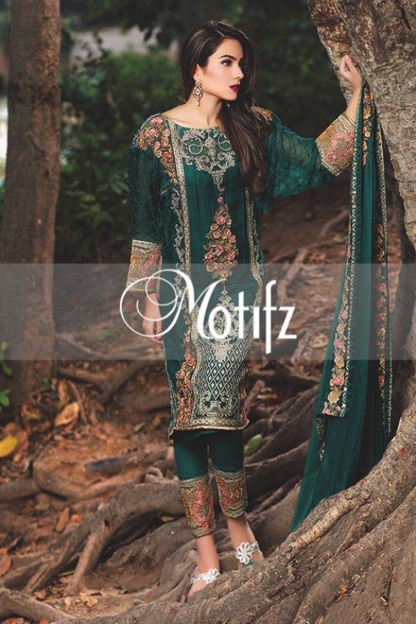 Motifz Embroidered Crinkle Chiffon Collection '16 – Turquoise 1261 - YourLibaas  - 1