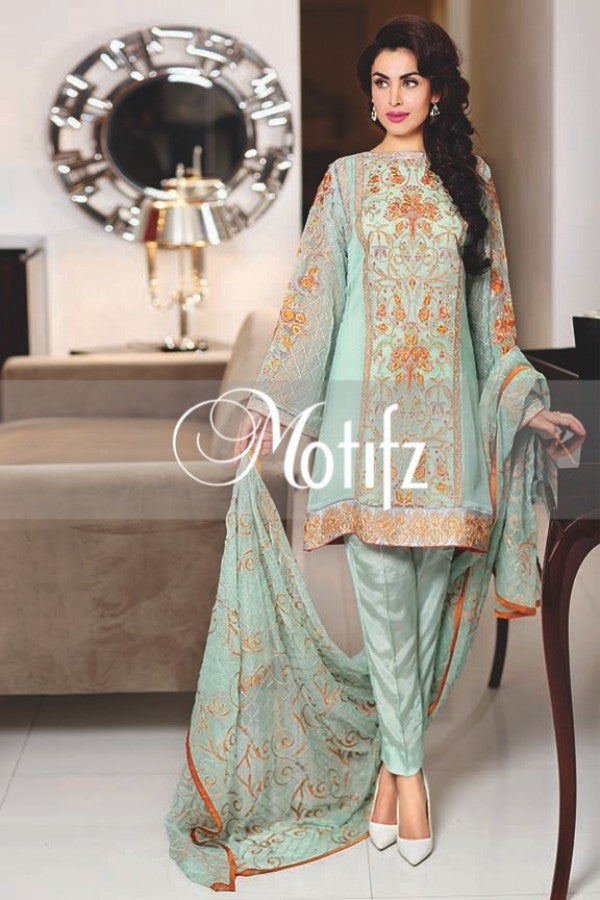 Motifz Embroidered Crinkle Chiffon Collection '16 – Ice Blue 1262 - YourLibaas  - 1