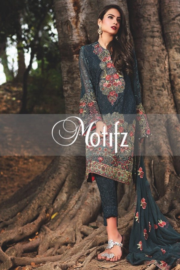 Motifz Embroidered Crinkle Chiffon Collection '16 – Zink Blue 1263 - YourLibaas  - 1
