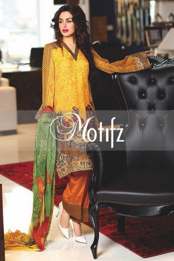 Motifz Embroidered Crinkle Chiffon Collection '16 – Mari Gold 1266 - YourLibaas  - 1