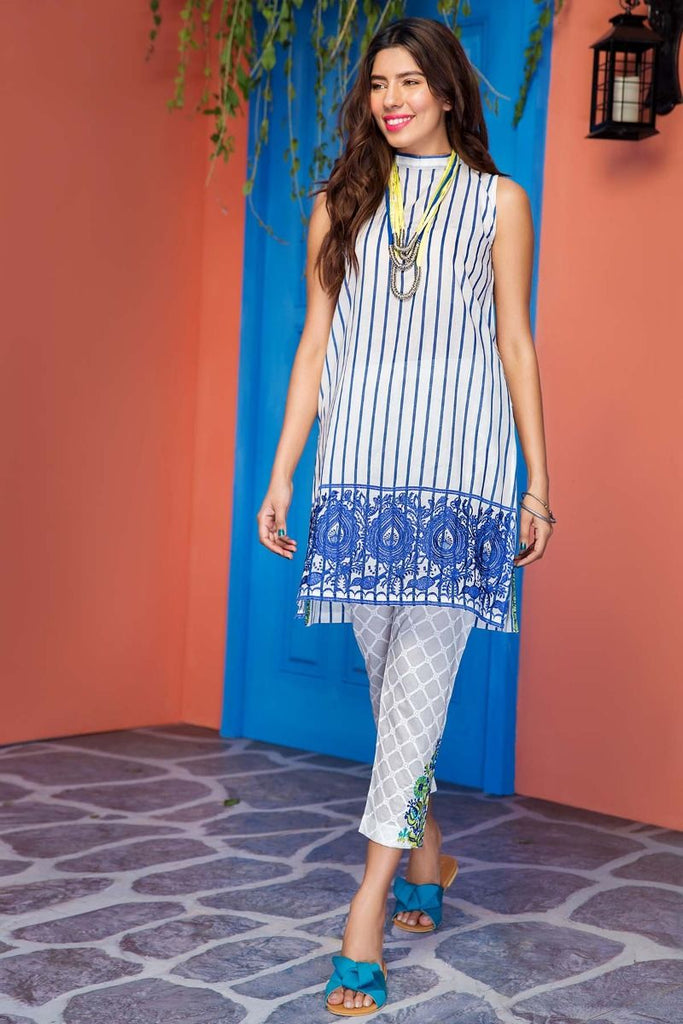Khaadi Tropical Escape Lawn Collection 2018 – N18105 White 2Pc