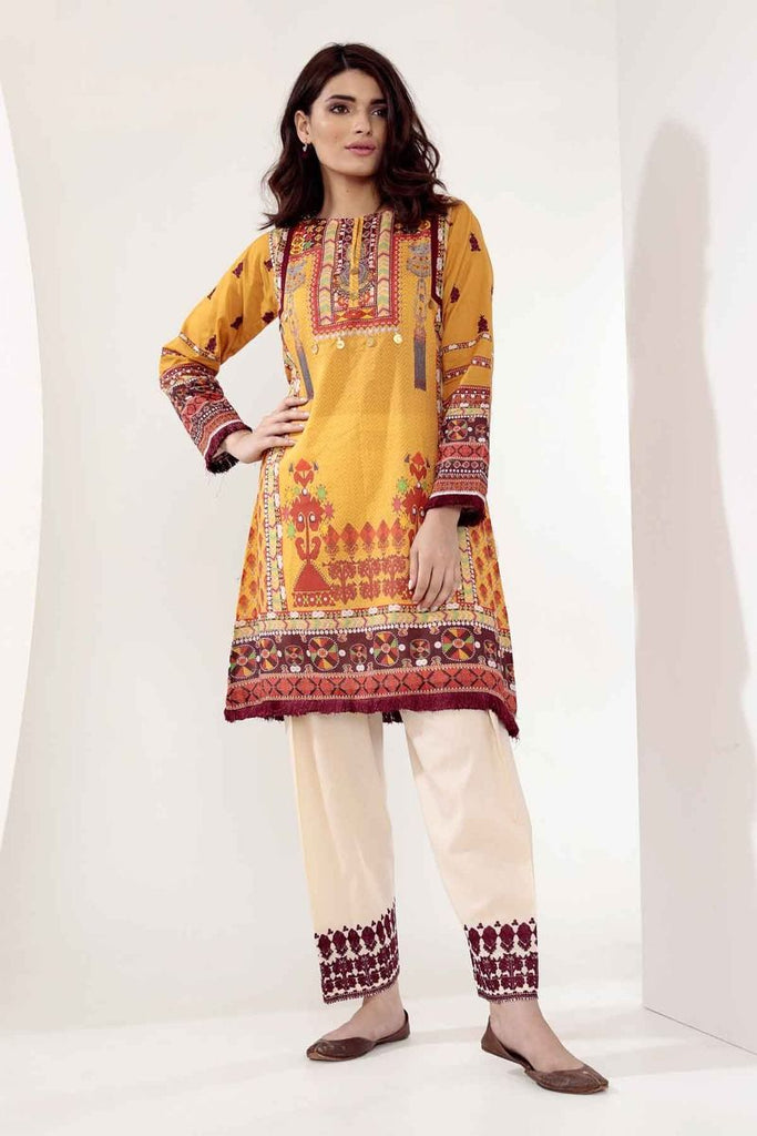 Khaadi Mid Summer Lawn Collection 2018 – N18306 Mustard 2Pc