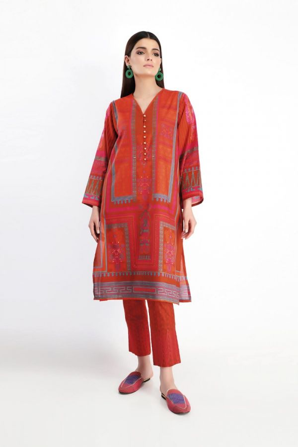 Khaadi Feel Free Spring Lawn Collection 2020 – Shirt Shalwar – N20105 Red