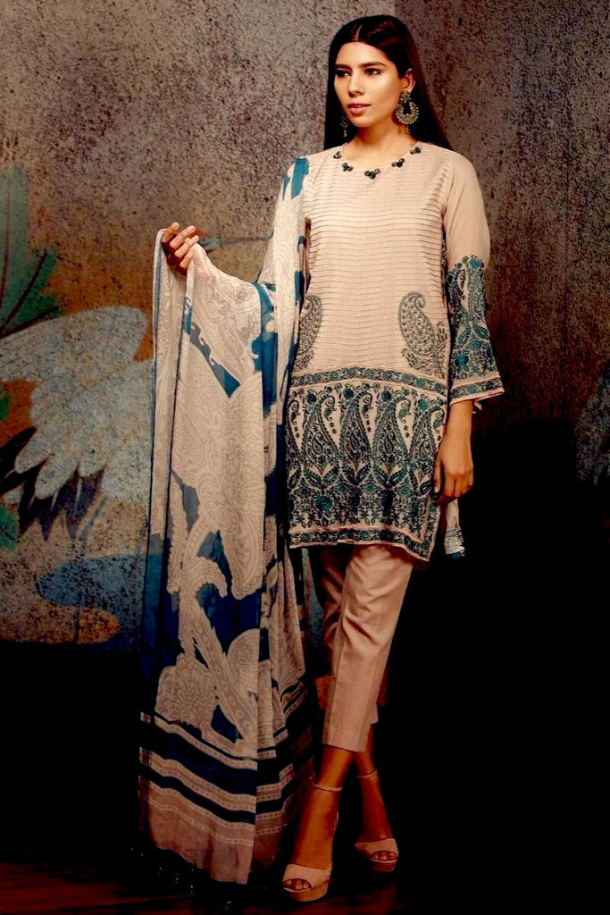 Khaadi Classics Lawn Collection 2018 – P18103 Beige 3Pc