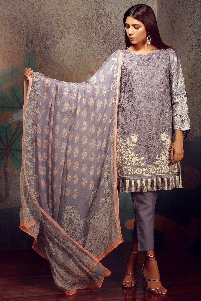 Khaadi Classics Lawn Collection 2018 – P18108 Purple 3Pc