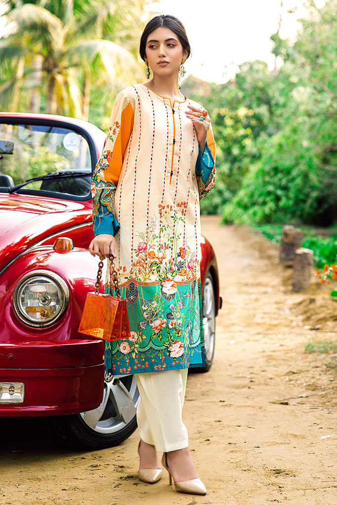Gul Ahmed Summer Basic Lawn 2021 · 1PC Unstitched Digital Printed Lawn Shirt SL-870
