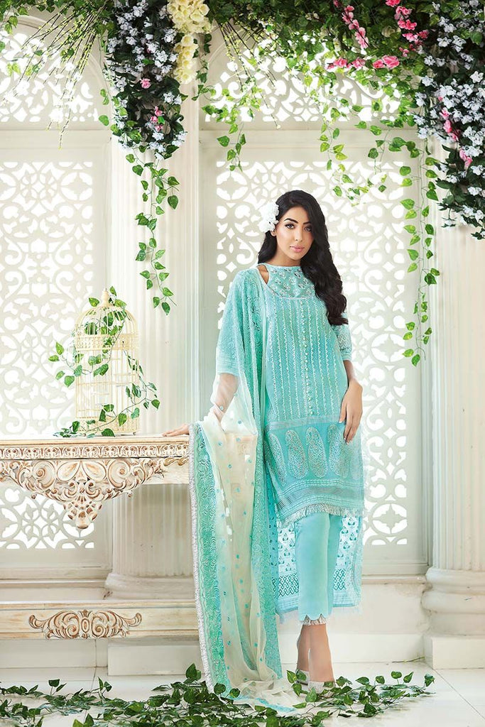 Gul Ahmed Summer Premium Collection 2018 – Ferozi 3 Pc Embroidered PM-209