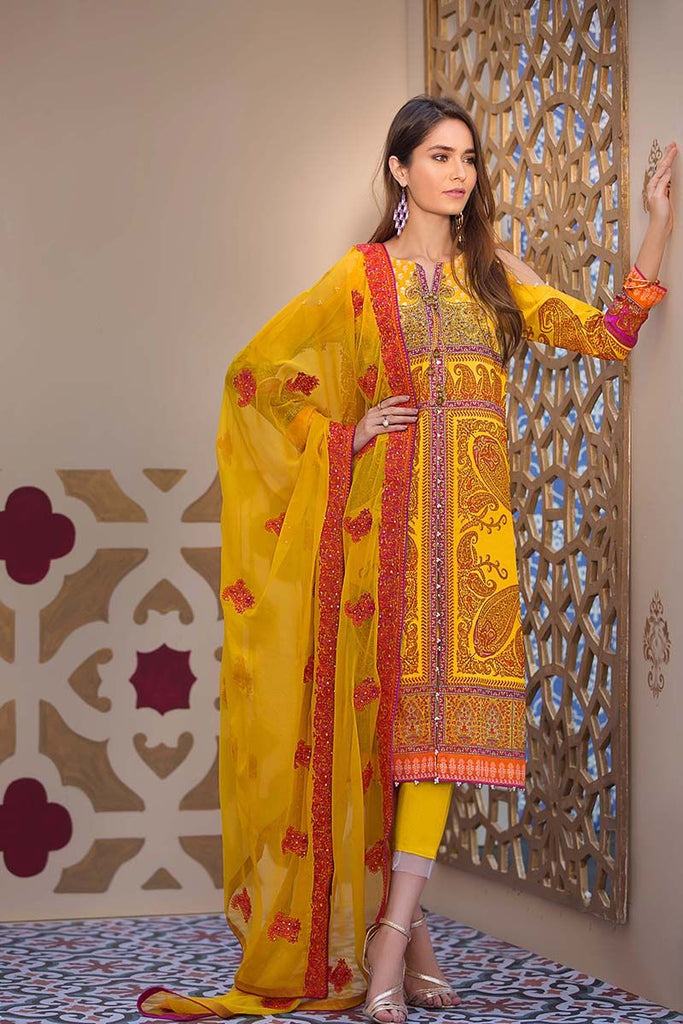 Gul Ahmed Summer Premium Collection 2018 – Yellow 3 Pc Premium Printed  PM-214
