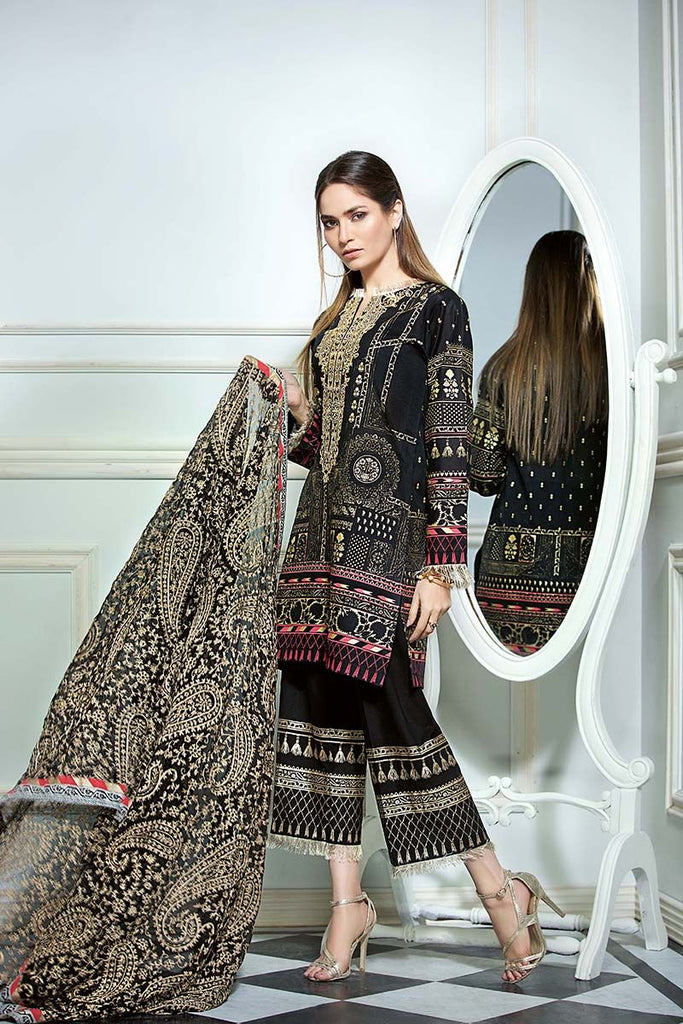 Gul Ahmed Summer Premium Collection 2018 – Navy Black 3 Pc Premium Printed PM-226