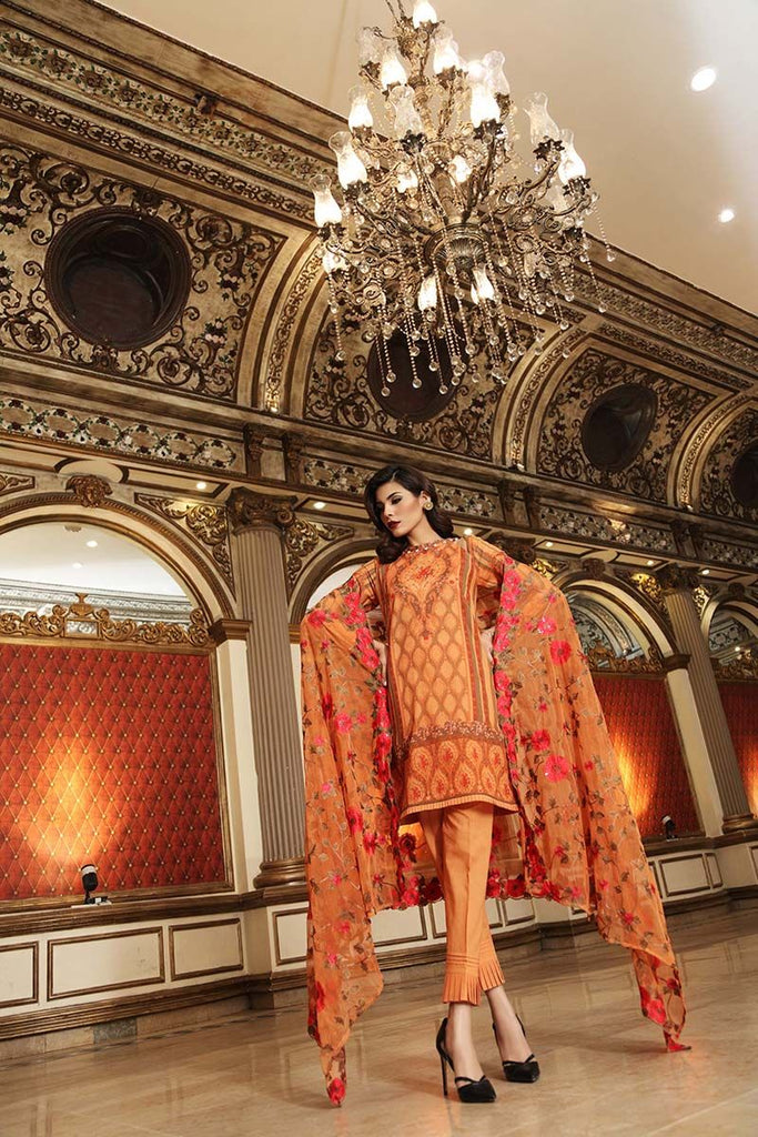 Gul Ahmed Summer Premium Collection 2018 – Orange 3 Pc Printed PM-228