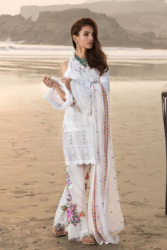 Gul Ahmed Summer Premium Collection 2018 – White 3 Pc Embroidered PM-229