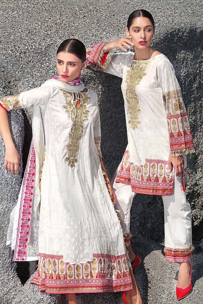 Gul Ahmed Summer Premium Collection 2018 – White 3 Pc Embroidered PM-230