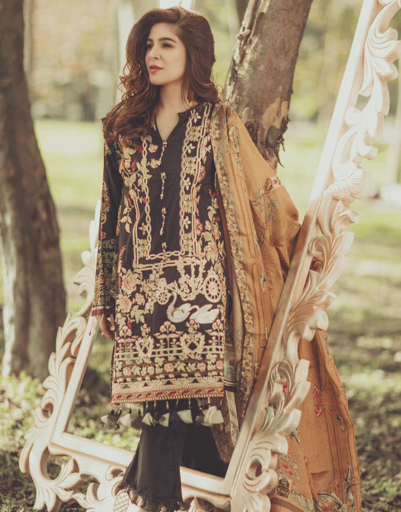Rang Rasiya Premium Lawn Collection 2018 – Black Swan 9A