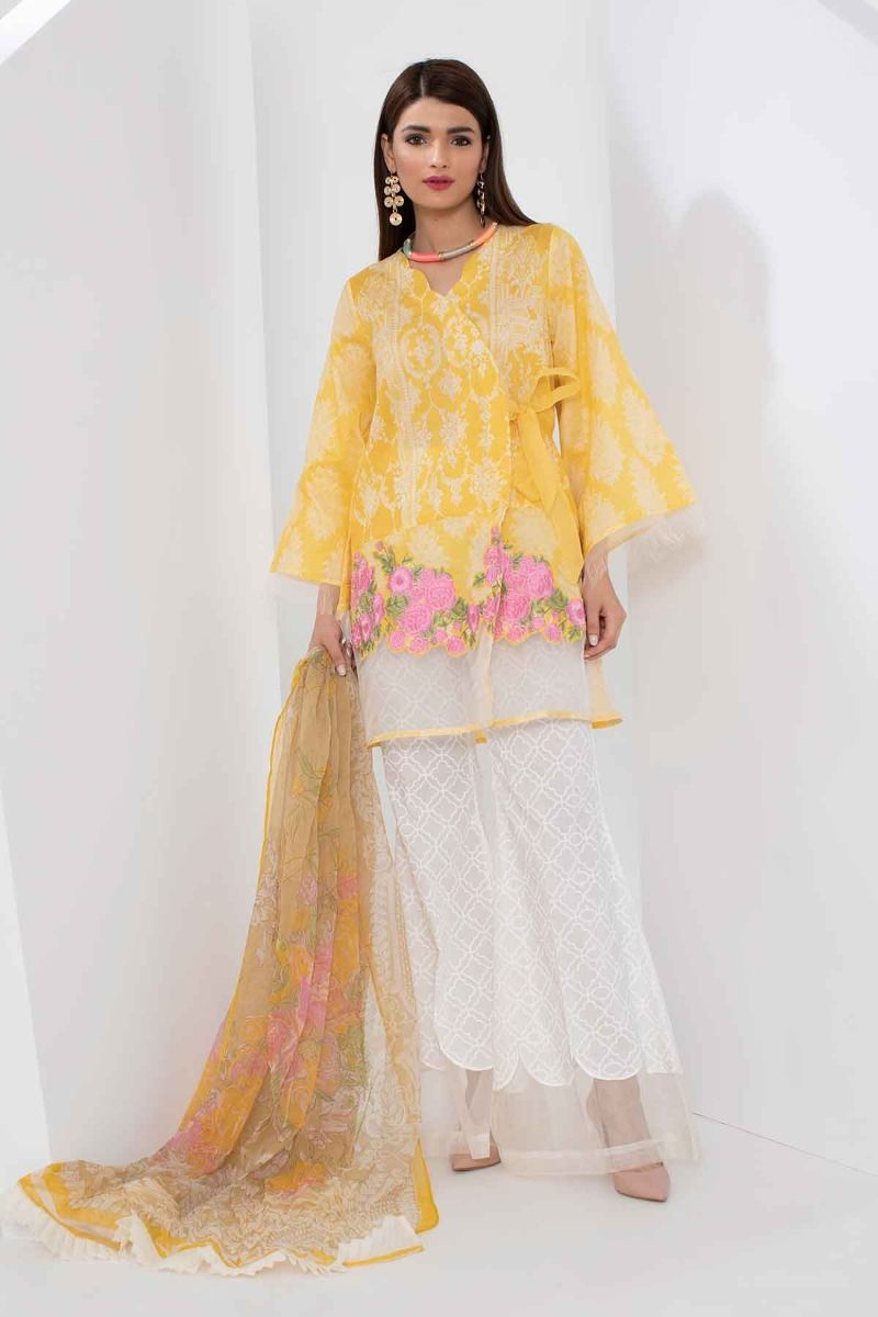182d2ec9f0 Khaadi Mid Summer Lawn Collection 2018 – R18304 Yellow 3Pc – YourLibaas