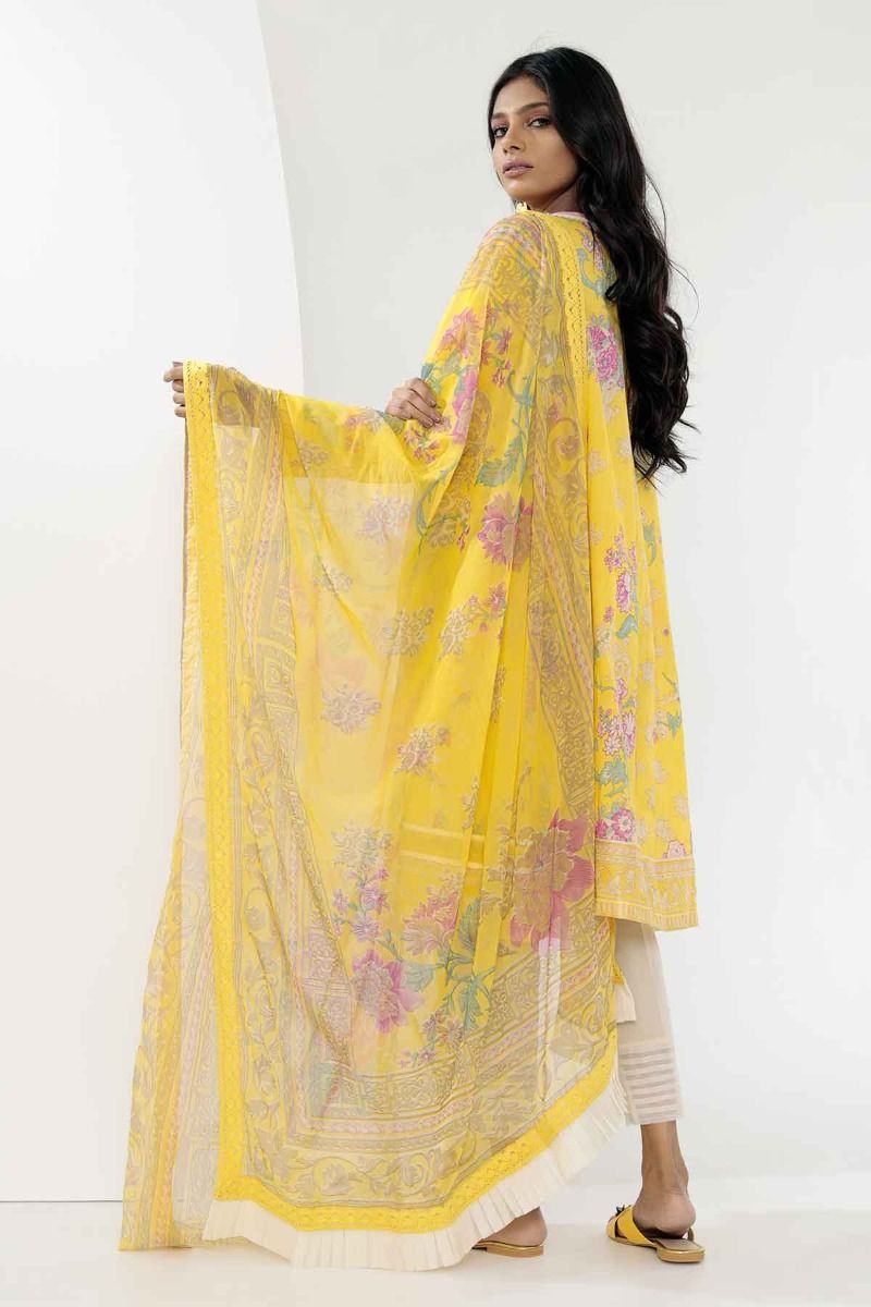 1a28d4e75d Khaadi Mid Summer Lawn Collection 2018 – R18306 Yellow 3Pc – YourLibaas