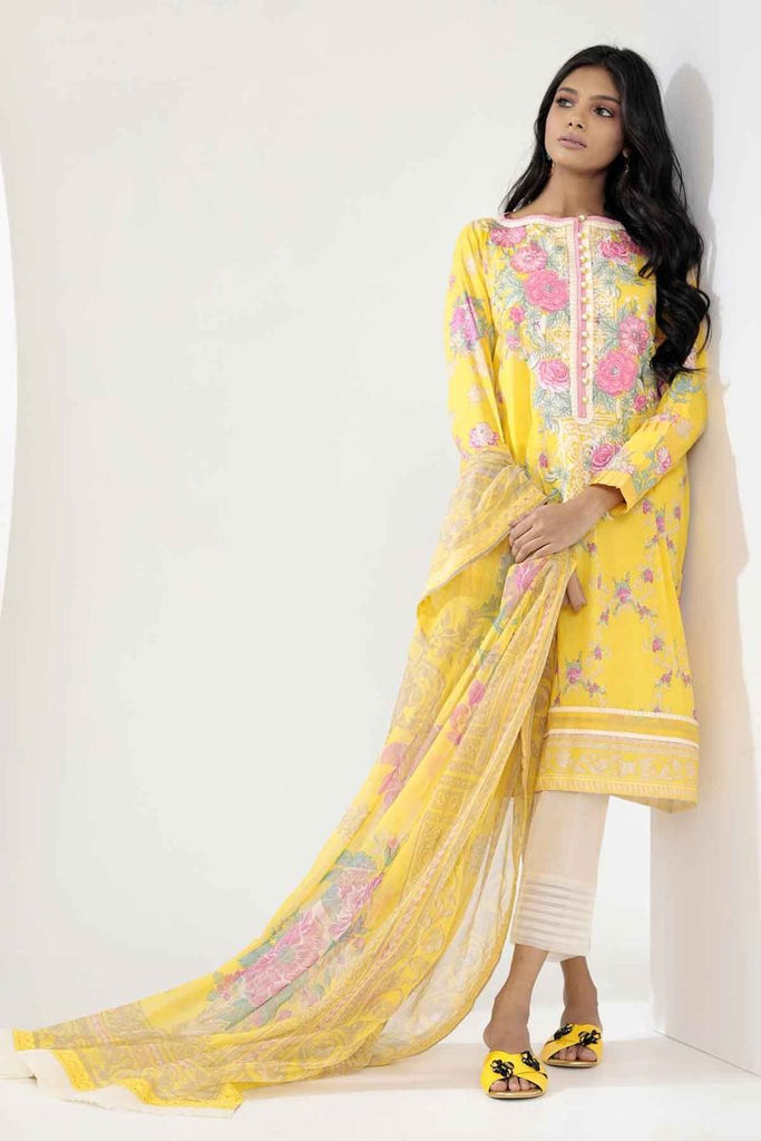 Khaadi Mid Summer Lawn Collection 2018 – R18306 Yellow 3Pc