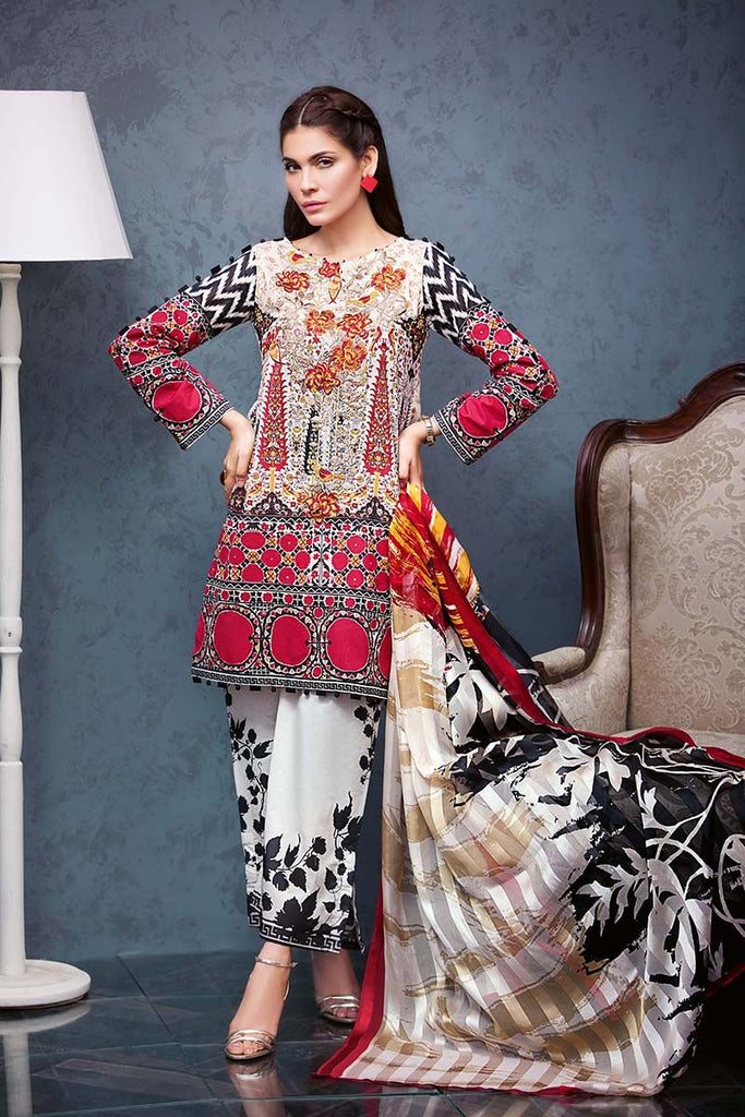 Gul Ahmed Summer Premium Collection 2018 – Off White 3 Pc Silk Embroidered RS-07
