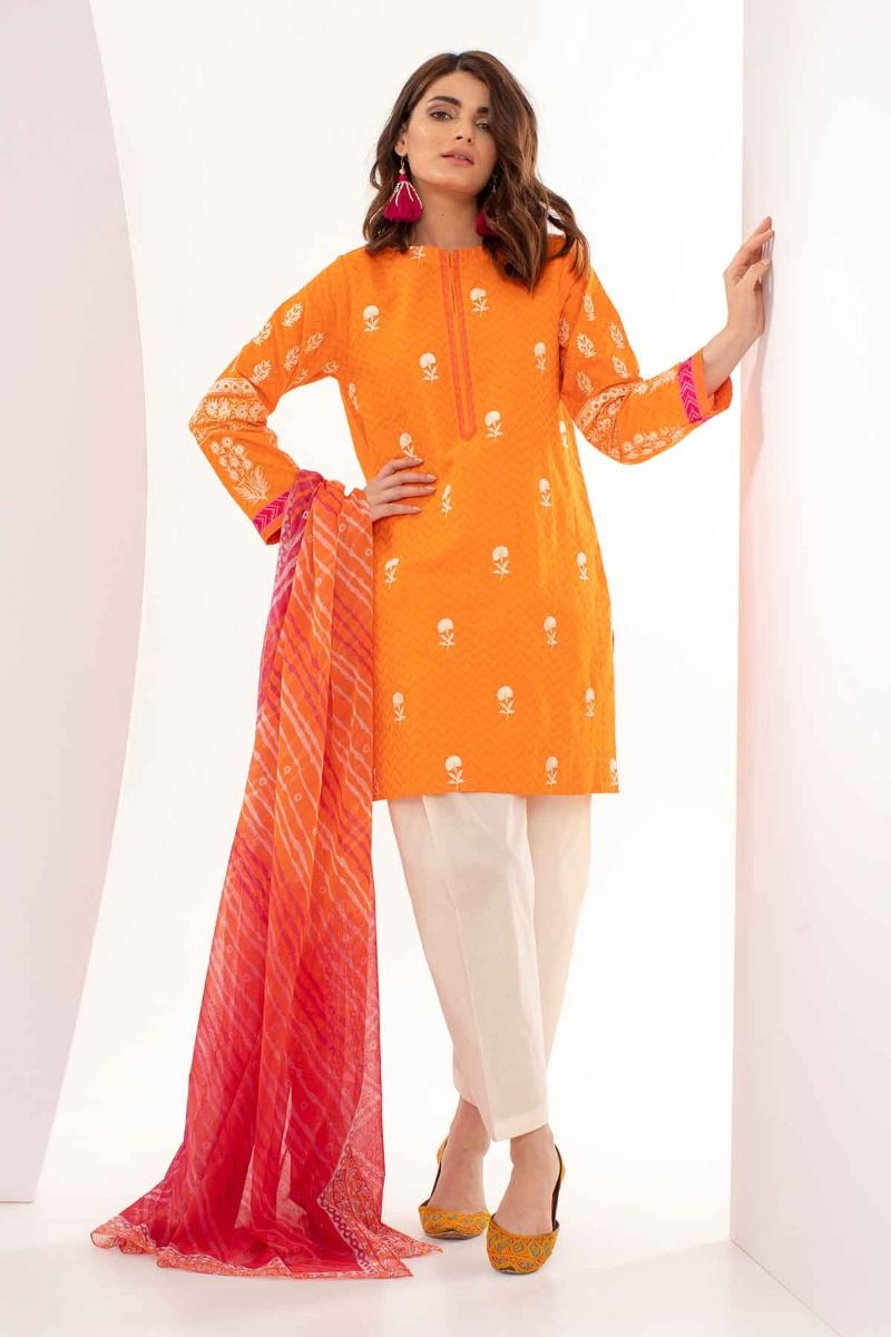 a38e7a9a62 Khaadi Mid Summer Lawn Collection 2018 – S18301 Orange 3Pc. Touch to zoom