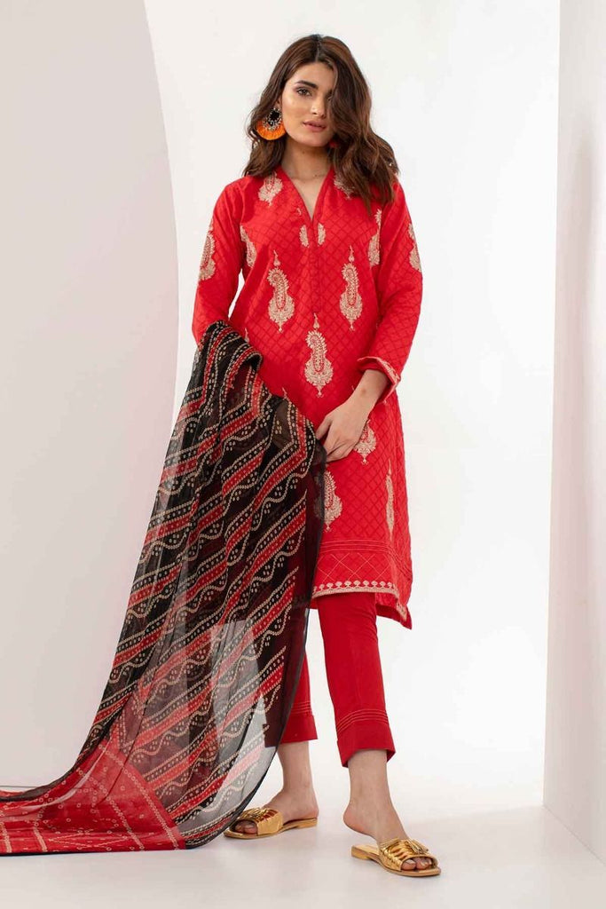 Khaadi Mid Summer Lawn Collection 2018 – S18302 Red 3Pc