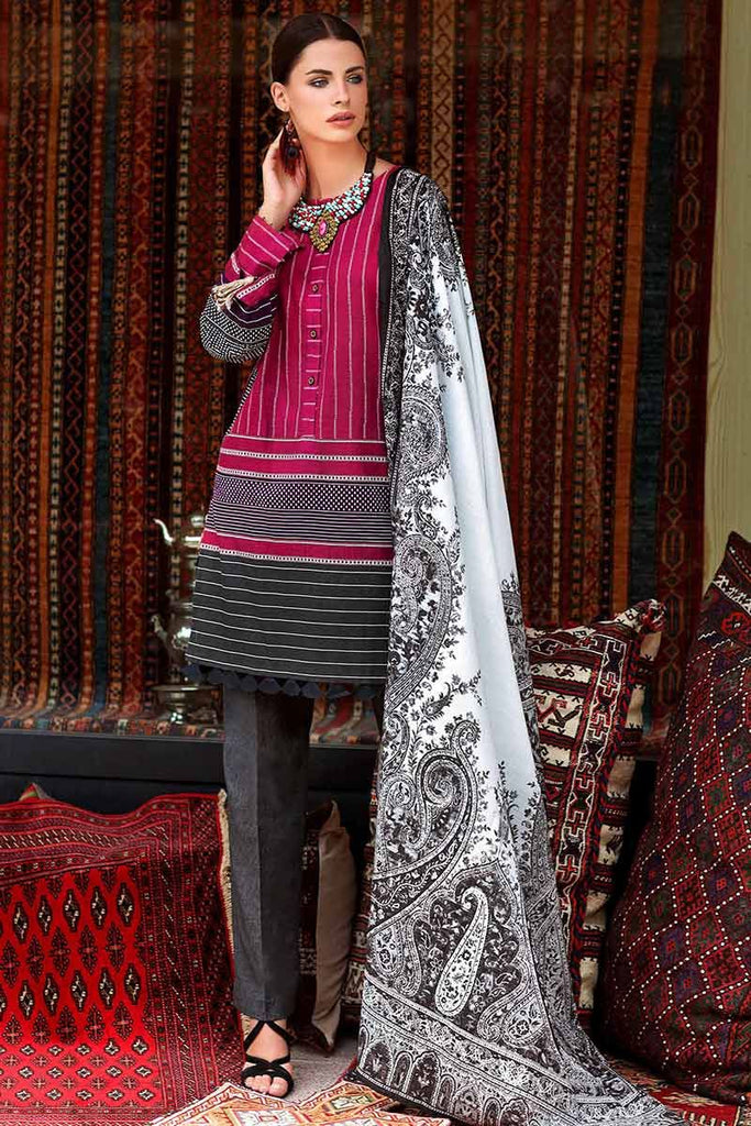 Gul Ahmed Craft Winter Collection 2018 – Grey 3 PC Digital Printed Khaddar Suit K-35
