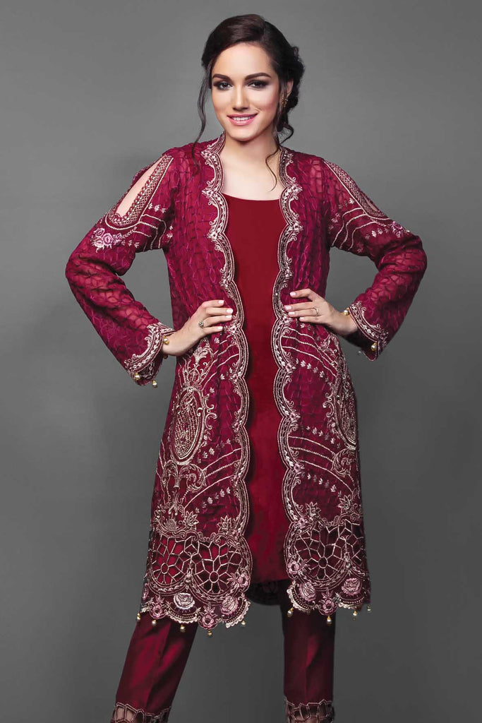 Anaya Festive Chiffon Collection – Scarlet Letter - YourLibaas  - 1