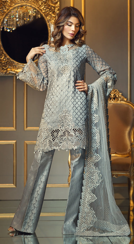 Anaya Festive Chiffon Collection 2017 – Silver Pearl