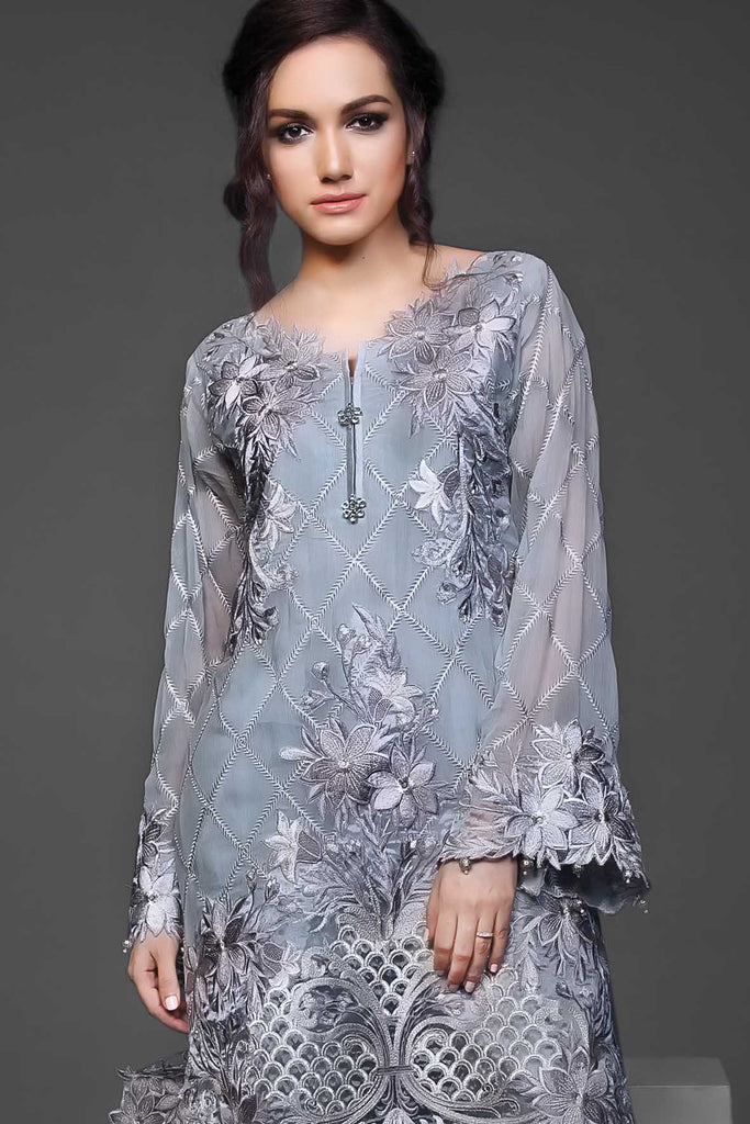 Anaya Festive Chiffon Collection – Silver Green - YourLibaas  - 1